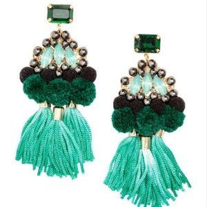h&m green Pom Pom statement earrings